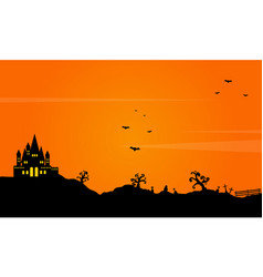 Halloween landscape background with castle vector