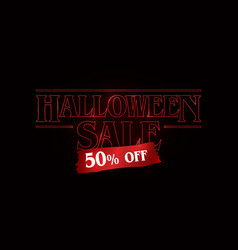 Halloween sale 50 off text logo red glow text on vector