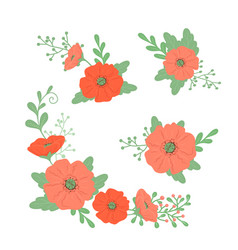 Hand drawing doodles set bouquets poppies vector