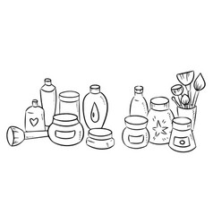 hand drawn set of cosmetic bottle silhouette on vector image