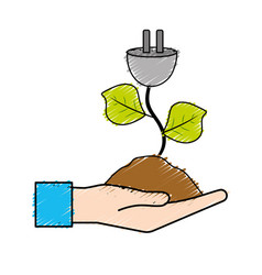 Hand with power cable plant with leaves and ground vector
