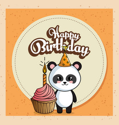 happy birthday card with panda bear vector image