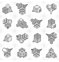 Isometric abstract shapes set vector