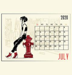 July 2020 calendar with fashion girl vector