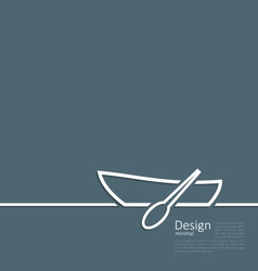 Logo of row boat in minimal flat style line vector image