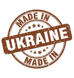 Made in ukraine brown grunge round stamp vector