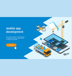 mobile app development banner 01 vector image