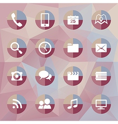 Mobile icons on polygonal background vector