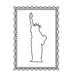 Monochrome contour frame of statue of liberty vector