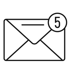 new mail inbox icon outline style vector image