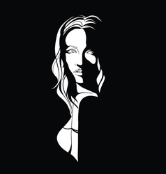 Noir portrait of a young woman with long hair vector