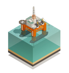 Oil production industry isometric composition vector