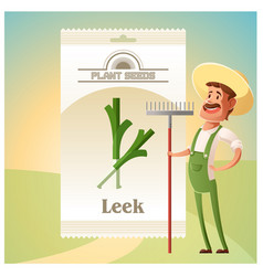 Pack leek seeds icon vector