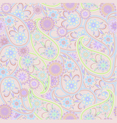 paisley and flowers - seamless pattern vector image