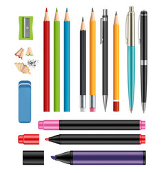 pen and pencils office stationery school colored vector image