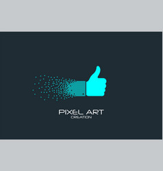Pixel art thumb up logo vector