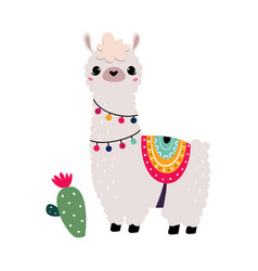 Pretty wolly llama or alpaca wearing knitted vector