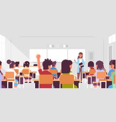 pupils group listening to female teacher schoolboy vector image