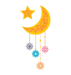 ramadan kareem sightings of crescent moon star vector image