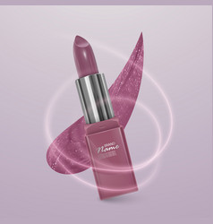 Realistic lipstick of light pink color 3d vector