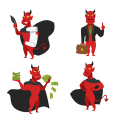 Red skin devil soul contract and money bills vector