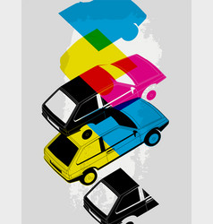 retro car typographic vintage style background vector image