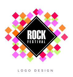 rock festival logo creative banner poster flyer vector image