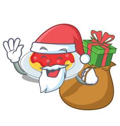 santa with gift spaghetti character cartoon style vector image