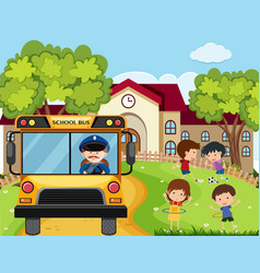 School scene with bus driver and kids in park vector