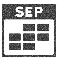 September Calendar Grid Grainy Texture Icon vector image