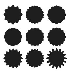 set black wavy grunge stickers vector image