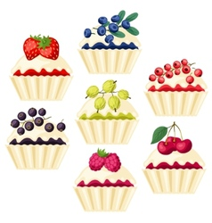 Set cupcakes with various filling vector