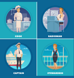 Ship crew 4 icons square vector