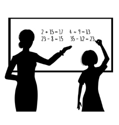 Silhouette of schoolgirl and teacher at blackboard vector image