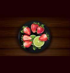 Sliced lime and strawberries on a dark plate and vector