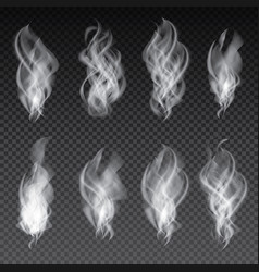 Smoke set isolated on transparent background vector