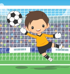 Soccer goalkeeper at the gate vector