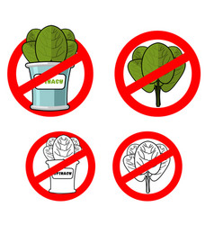 stop spinach prohibited green leaf lettuce red vector image