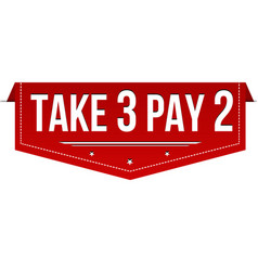take 3 pay 2 red banner vector image