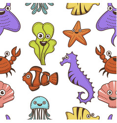 underwater animals and plants cartoon characters vector image