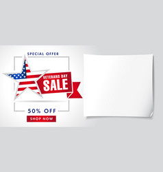 veterans day usa sale poster vector image