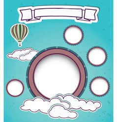 Vintage Web design template with clouds vector image