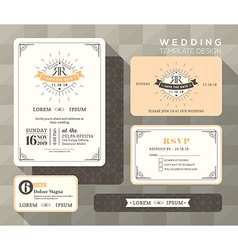 Vintage Wedding Set linear vector image