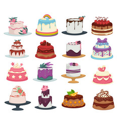 Wedding and birthday cakes isolated dishes vector