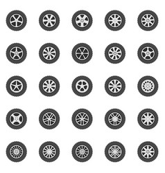 wheel icons set flat car wheels disks vector image