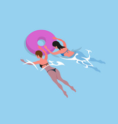 Women in bikini swimsuit swim in inflatable rings vector