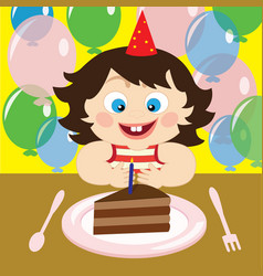 a child with cake vector image
