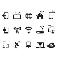 black telecom icons set vector image vector image