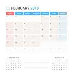 calendar planner for february 2018 vector image vector image