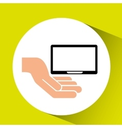 hand with tablet icon vector image
